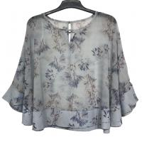 Women Fashion Ruffle Sleeve Chiffon Blouse Flower Printing Color Viscose Material Manufactures
