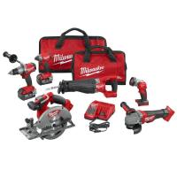Milwaukee M18 FUEL 18-Volt Lithium-Ion Brushless Cordless Combo Kit (6-Tool) with (2) 5.0 Ah Batteries, (1) Charger, (2 Manufactures