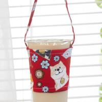China Custom Cotton Reusable Coffee Cup Sleeves Coffee Cup Carrier Takeaway Cup Holder with Handle on sale