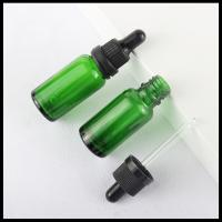 China Green Essential Oil Glass Bottles Cosmetic Dropper Container 30ml TUV Approval on sale