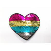 Multicolor Heart Logo Sequin Embroidery Patches Sequin Sew On Patches Manufactures