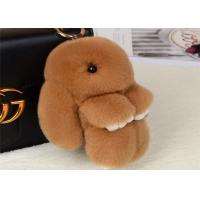 China Dyed Brown Rabbit Fur Keychain 18cm Size PP Catton Fillings Used For Bag on sale