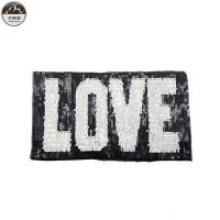 China Love Letter Sequin Embroidery Patches Black / White Color Customized Size on sale