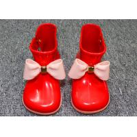 Comfortable Little Kids Shoes Childrens Rain Boots Plastic Upper With Bowknot Manufactures
