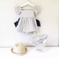 Angou 2016 Ins Hot Baby Girl Sets Striped Bow Princess dress+pants 2pcs Toddler Clothing