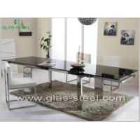 Stainless Steel Dining Table With Tempered Glass Top BT555 Manufactures