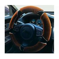 Non Smell Fuzzy Car Steering Wheel Covers Easy To Install Coffee / Black Color Manufactures