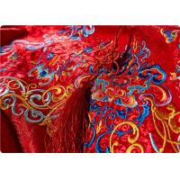High End Embroidered Fabrics , Red Chinese Wedding Dress Fabric Manufactures