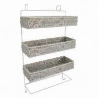 Oblong Sea Grass Hanging Shoe Racks, Made of Plastic Rattan, Metal Frame and Fashionable style Manufactures