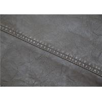 China Brown Polyurethane Faux Leather , Washed Garment Synthetic Leather Fabric on sale