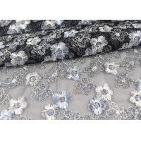 Floral Design Embroidered Tulle Lace Fabric For Bridal Wedding Dresses Manufactures