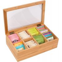 8 Compartments Bamboo Storage Box Tea Bag Chest Natural Color No Petrochemicals
