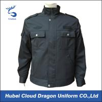 Wool / Polyester Dark Navy Security Guard Jackets With 2 Front Pockets With Flaps