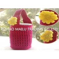 Red hollow out cute hand crochet cup warmer with handles and vivid sunflower for sale