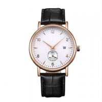 Stainless Steel Leather Band Watches / Quartz Wrist Watch For Men , Eco - Friendly Manufactures