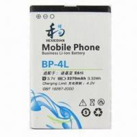 Li-ion Rechargeable Battery for Nokia BP-4L Mobile Phone, Customized Capacities are Welcome Manufactures