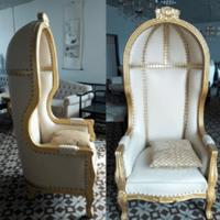 Pu Leather Bride/Groom Sofa Chair Birdcage Royal King/Princess Chair Wooden Seater High Back Throne Chair for Wedding Manufactures