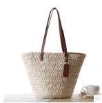 corn husk straw shoulder bag with leather handle 80325 Manufactures