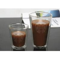 China 13.5 Ounce Strong Thermo Double Wall Glass Mug Coffee Glassware With Decal Printing on sale