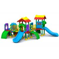 China 8CBM Plastic Slide Set / Kids Plastic Outdoor Play Equipment With Massed Patterns on sale