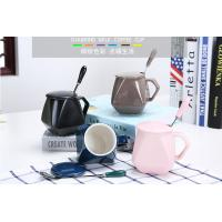 Quality Office Lady Ceramic Coffee Mug Set With Lid Spoon Couples 280ml Pure Red Blue for sale