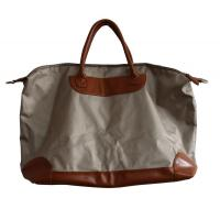 Ivory Canvas waterproof shopper bag with leather pad and handle , zipper and fasten button Manufactures