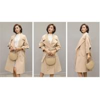 Customized Overknee / MD Long Womens Wool Winter Coats With Belt Double Breasted Manufactures