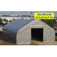 Temporary Curved Aircraft Tent Aluminum Frame Gray PVC Cover 10 x 30m for sale