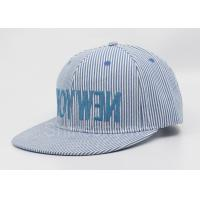 Official Blue Snapback Washed Baseball Caps Flat Brim With Customized Label Manufactures