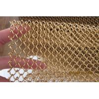 China 1.2mm with 6mm Aperture Metal Mesh Drapery Aluminum Coil Mesh In Golden on sale