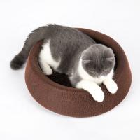 Weigth 270g Soft Round Cat Bed Brown Color PU Leather Material Customized Logo Manufactures