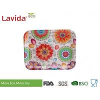 13 Inch Bamboo Fiber Tray , Plastic Rectangular Tray Customized Colorful Flower Design Manufactures