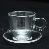 clear double wall thermo glasses, double wall coffee glass, tea set glass with saucer Manufactures