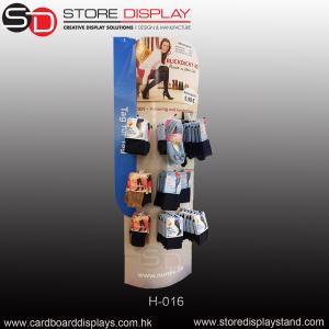 Quality corrugated sock cardboard hook floor display rack for sale