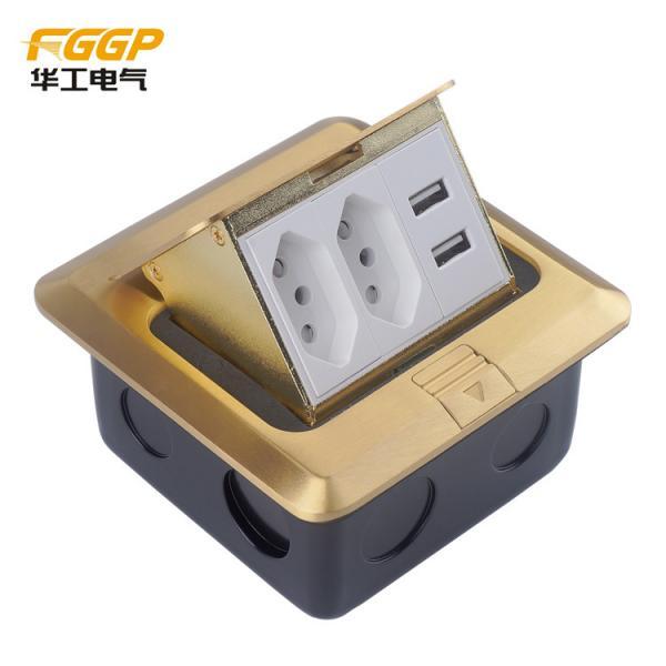 Quality Brass Golden Usb Pop Up Floor Outlet , Longlife CE Floor Electrical Sockets for sale