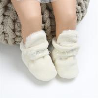 China Amazon Cotton fabric fluff winter warn indoor socks Baby shoes for sale