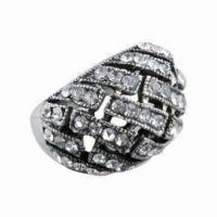 Buy cheap High-grade Alloy-plated Anti-silver Ring with Rhinestone, Fashion, Latest Style from wholesalers