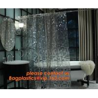 Shower Curtain 180X180 cm Waterproof Peva Material incl. 12 oval Shower Rings, decorative Dobby printing shower curtain