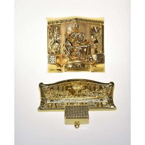 Gold Color Luxury Coffin Casket Handles 9# Last Supper Design For Metal Casket Manufactures