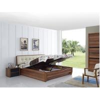 Cheap FSC Certificated Good quality Upholstery headboard bed with wood storage bottom and Sliding door wardrobe Manufactures