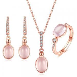 CZ Natural Rose Quartz Pendant Necklace Ring Earrings Women