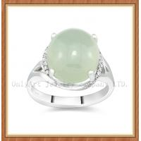 China honorable and elegant jade inlaid sterling silver ring wholesale on sale