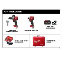 Milwaukee M18 FUEL 18-Volt Lithium-Ion Brushless Cordless Hammer Drill & Impact Driver Combo Kit (2-Tool) w/(2) 5Ah Bat Manufactures