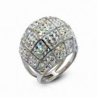 Swarovski Jewelry, Sterling Silver Ring with Crystal Ring, in New Design Manufactures
