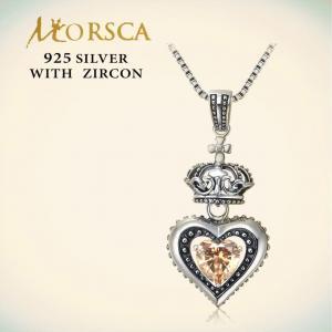 China Morsca 925 Sterling CZ Heart Silver Pendant Set ADP871-019 on sale
