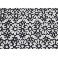 Black Embroidered Lace Fabric Floral Lace Organza Polyester Fabric For Dresses Manufactures