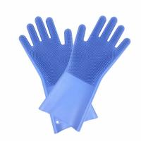 Food Grade Heat Resistant Soft Silicone Dish washing Gloves Silicone Gloves with Cleaning Brush Manufactures