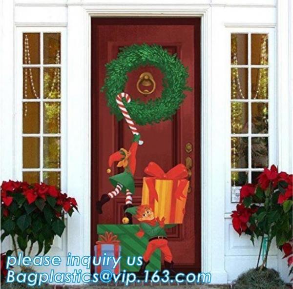 Quality Promotional custom printing plastic door cover PE christmas door/window/wall covers door poster,indoor & outdoor door po for sale