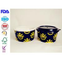 Hot Cake Insulated Paper Food Containers With Lids , Black Disposable Soup Bowls Manufactures