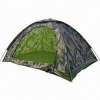 Camo Camping Tent for 4 Persons/190T Polyester, PU 2000mm Flysheet with Measuring 200x200x130cm Manufactures